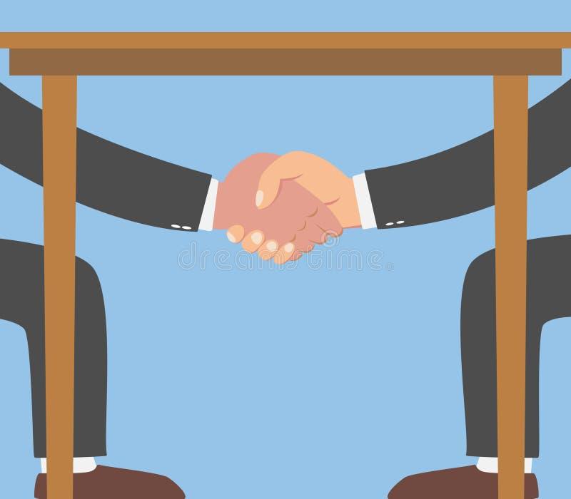 Бизнесмен тряся руки под таблицей иллюстрация вектора