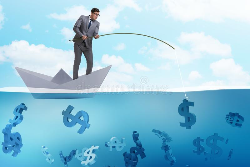 Бизнесмен удя деньги долларов от бумажного корабля шлюпки иллюстрация штока