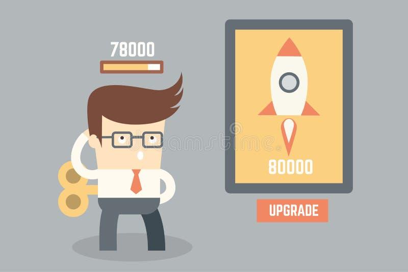Бизнесмен думая и планируя для мелкого бизнеса бесплатная иллюстрация