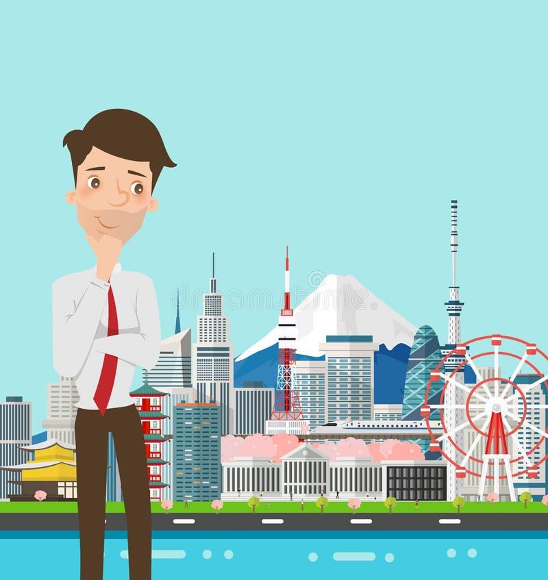 Бизнесмен думая с ориентир ориентиром зданий Японии иллюстрация штока