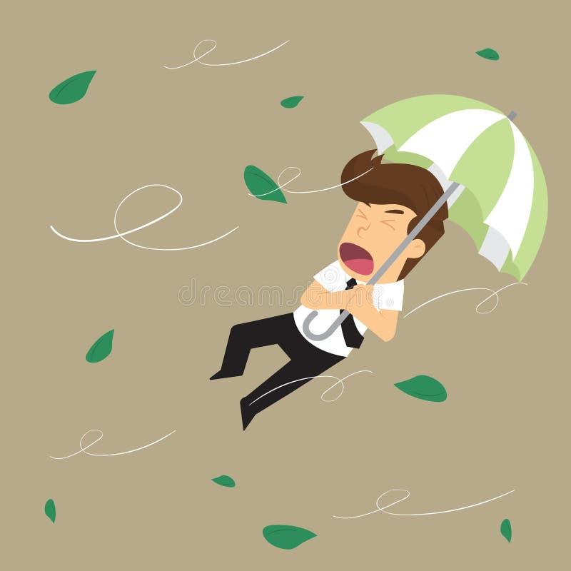 Бизнесмен дунутый отсутствующим штормом иллюстрация штока