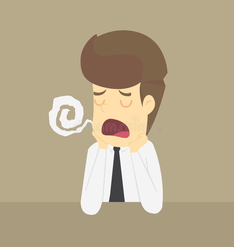 Бизнесмен унылый в работе иллюстрация штока