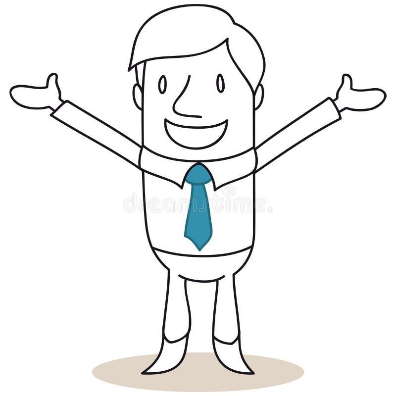 Бизнесмен усмехаясь с открытыми оружиями иллюстрация штока