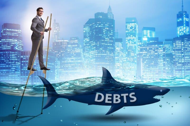 Бизнесмен успешно общаясь с займами и задолженностями иллюстрация вектора