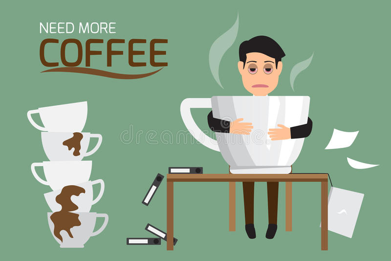 Бизнесмен утомлял и ленивый кофе питья из-за ne полусна иллюстрация вектора