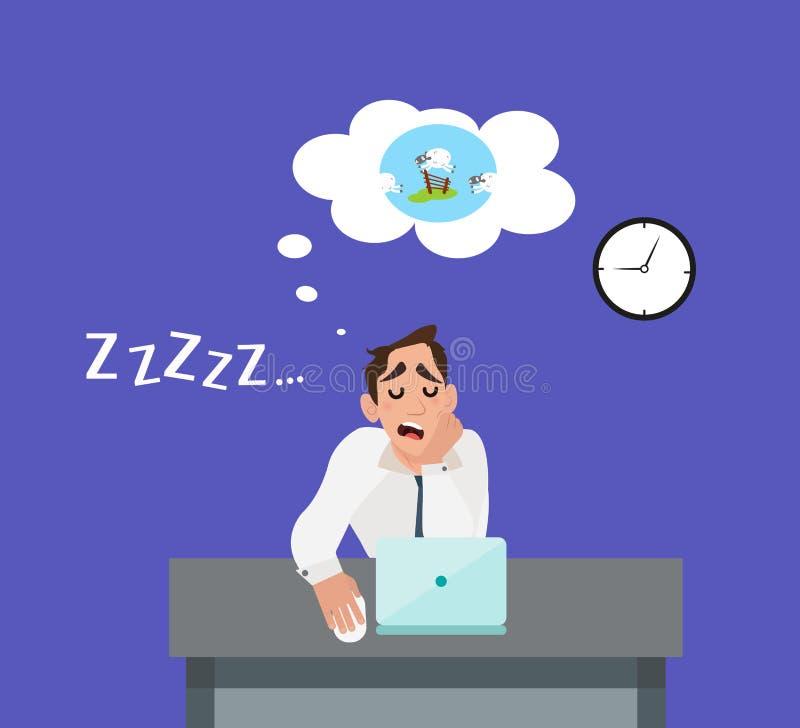 Бизнесмен утомлял стресса и спать на работе иллюстрация штока