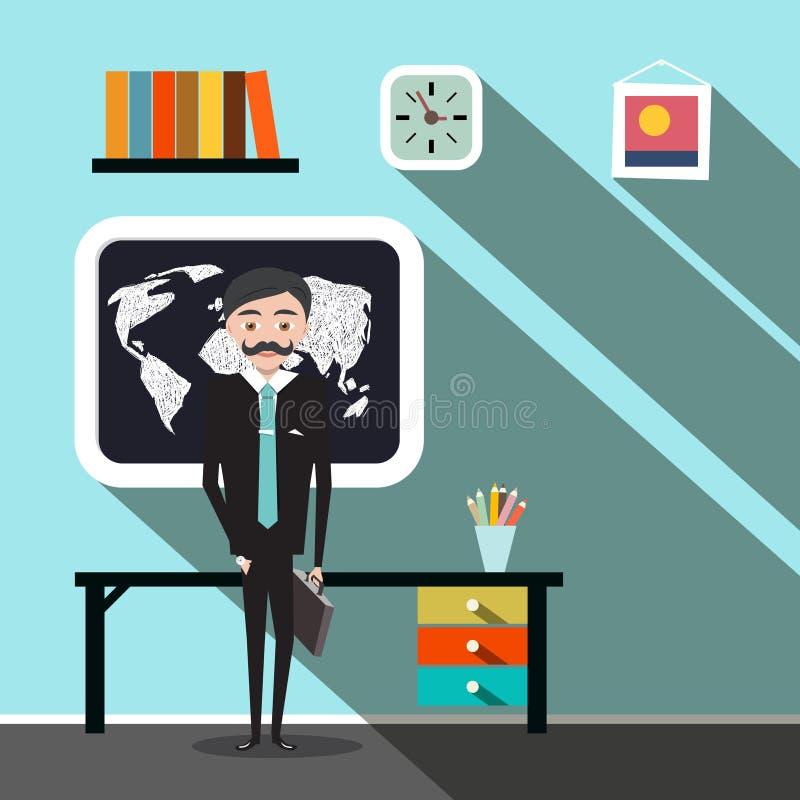 Бизнесмен - учитель в дизайне вектора офиса плоском иллюстрация вектора