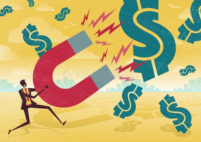 Бизнесмен улавливает доллары с магнитом денег иллюстрация штока