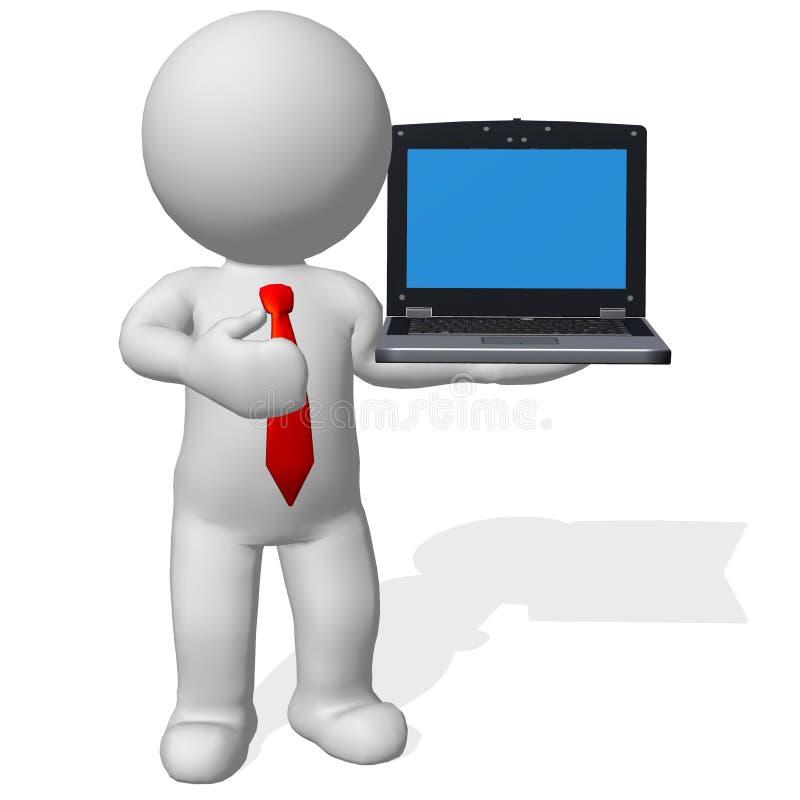 бизнесмен характера 3d стоя с компьтер-книжкой стоковые фото
