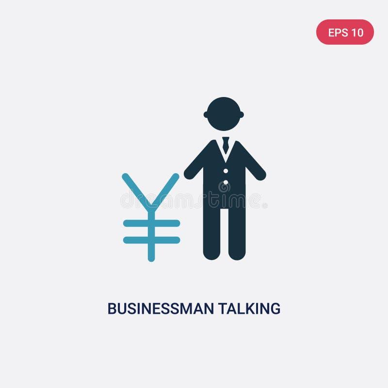 Бизнесмен 2 цветов говоря о значке вектора иен от концепции людей изолированный голубой бизнесмен говоря о знаке вектора иен иллюстрация вектора