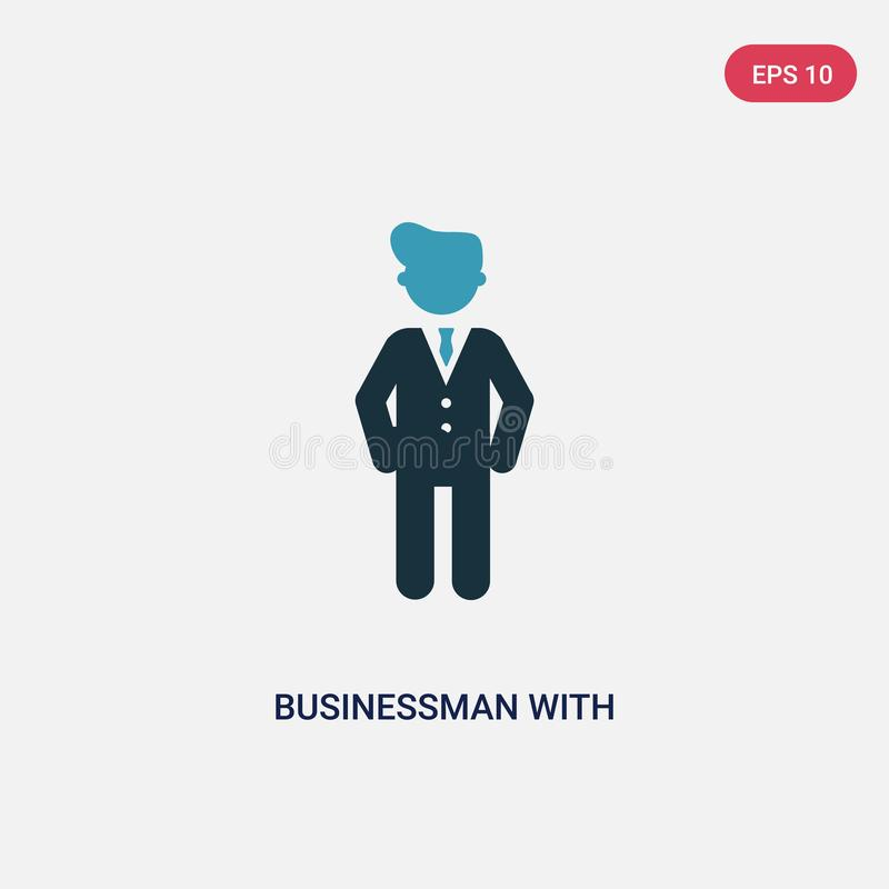Бизнесмен 2 цветов со значком вектора денег доллара от концепции людей изолированный голубой бизнесмен со знаком вектора денег до иллюстрация штока