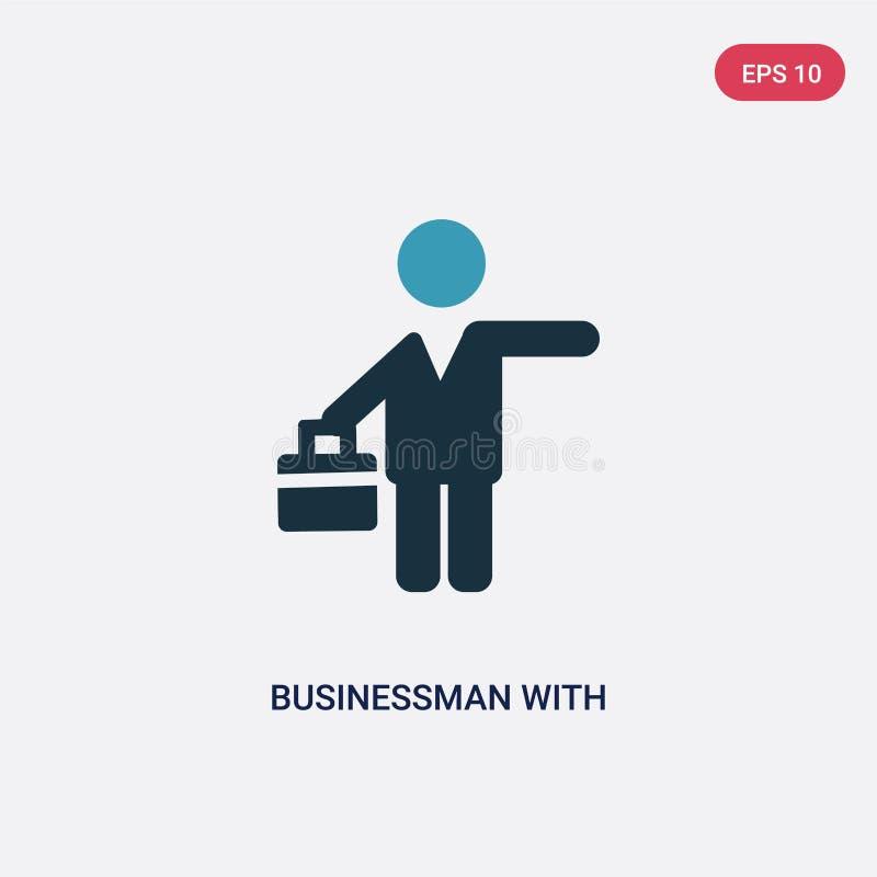 Бизнесмен 2 цветов со значком вектора чемодана от концепции людей изолированный голубой бизнесмен с символом знака вектора чемода бесплатная иллюстрация