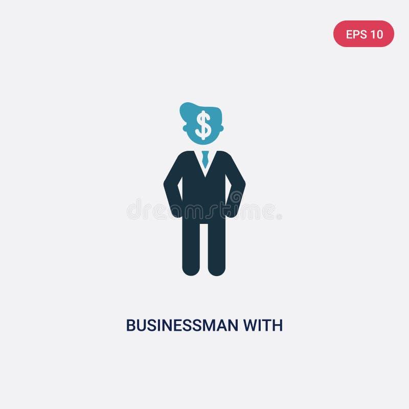 Бизнесмен 2 цветов с финансовым сообщением о значке вектора доллара от концепции людей изолированный голубой бизнесмен с иллюстрация вектора