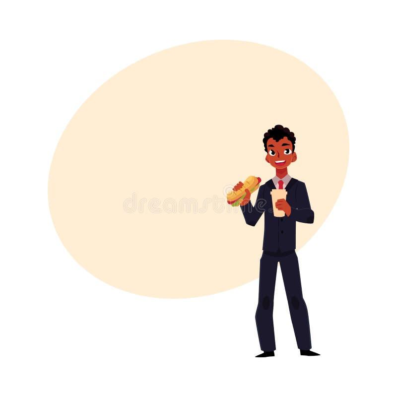 Бизнесмен чёрного африканца есть сандвич, держа кофейную чашку, перерыв на ланч иллюстрация штока