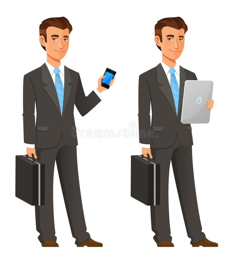 Бизнесмен шаржа в сером костюме иллюстрация вектора