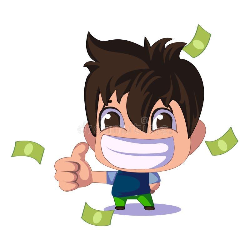 Бизнесмен шаржа милый или характер менеджеров с деньгами плоско Идея деньги большие пальцы руки вверх иллюстрация штока