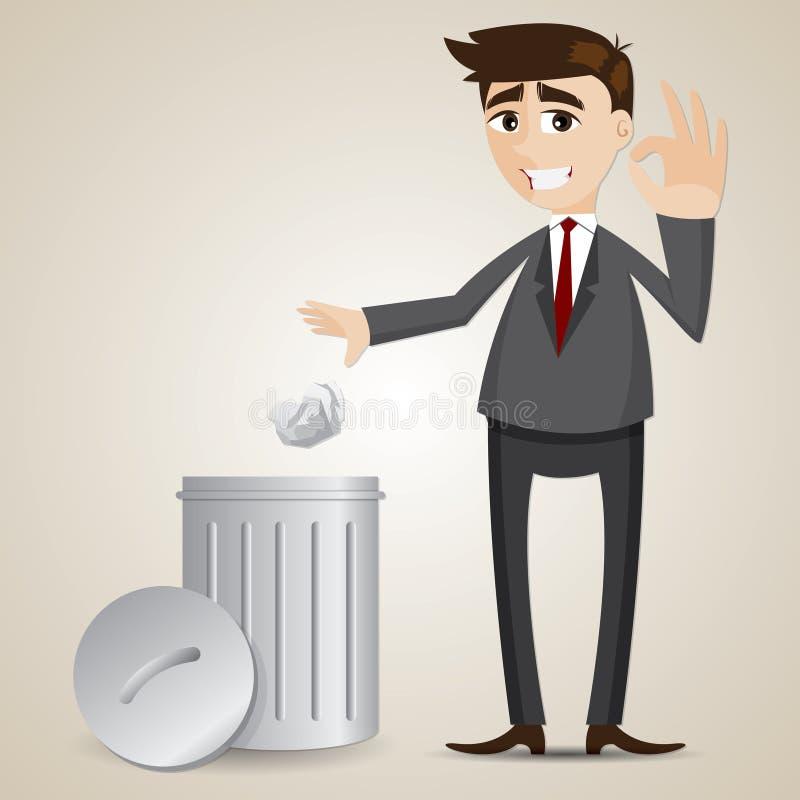 Бизнесмен шаржа положил бумагу в мусорную корзину иллюстрация вектора