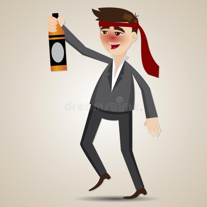 Бизнесмен шаржа пьяный с бутылкой спирта иллюстрация вектора