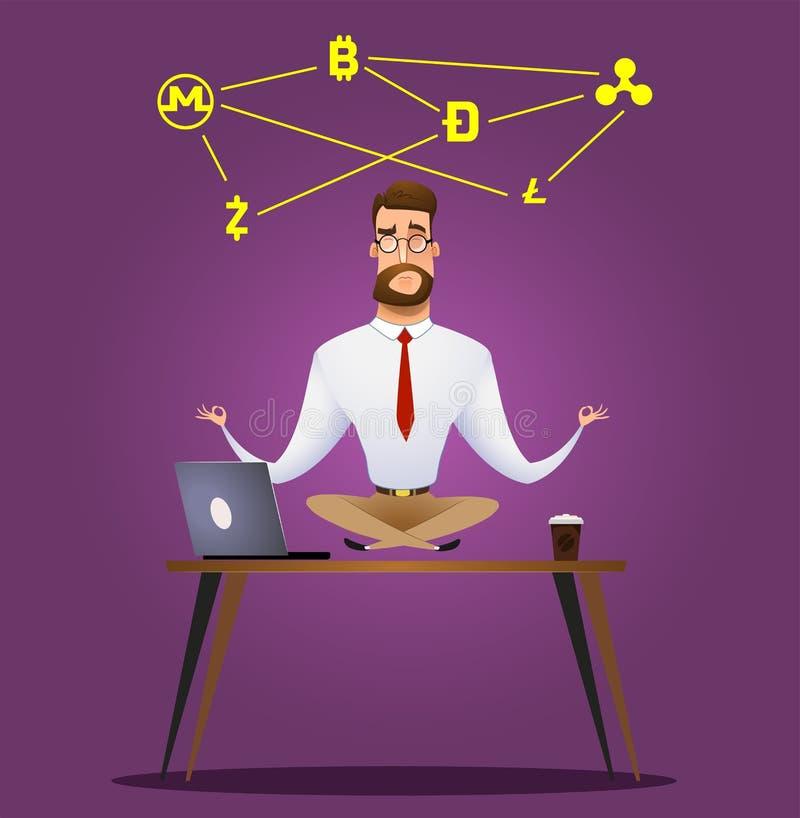 Бизнесмен шаржа сидя в представлении лотоса бесплатная иллюстрация