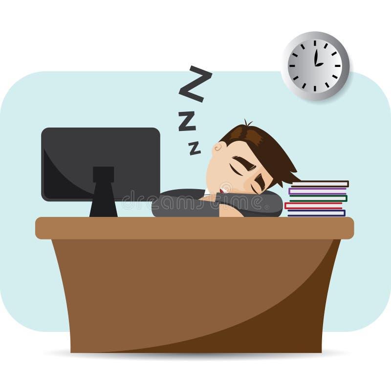 Бизнесмен шаржа спать на рабочем временени бесплатная иллюстрация