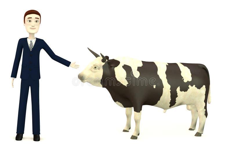 Бизнесмен шаржа с быком бесплатная иллюстрация
