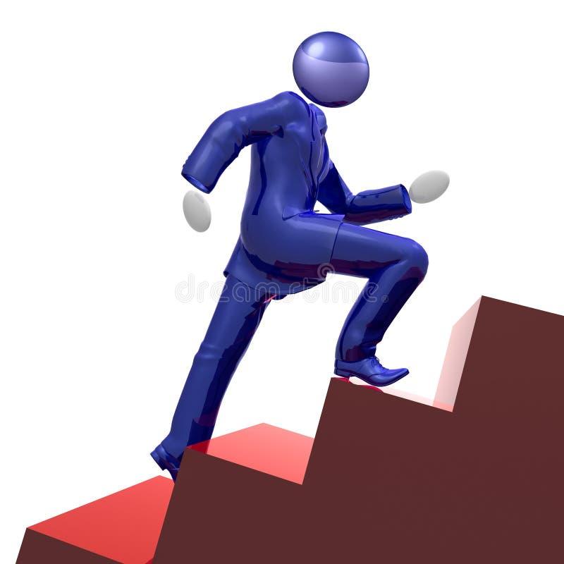 бизнесмен 3d взбираясь холодные лестницы иконы иллюстрация вектора