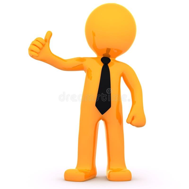 бизнесмен 3d показывая большие пальцы руки вверх иллюстрация штока