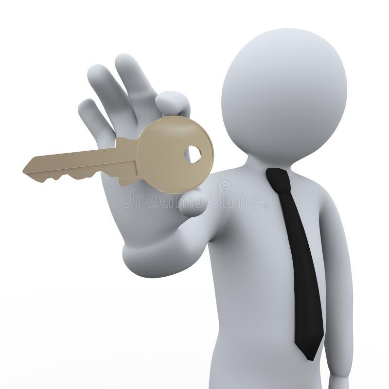 бизнесмен 3d показывая ключ иллюстрация штока
