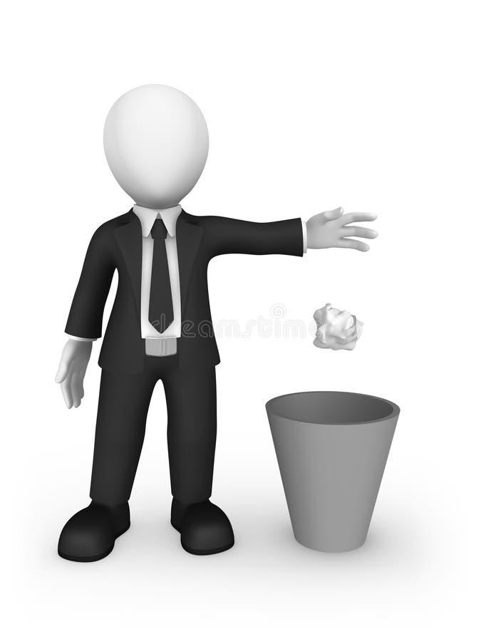бизнесмен 3d бросает отброс в мусорной корзине иллюстрация вектора