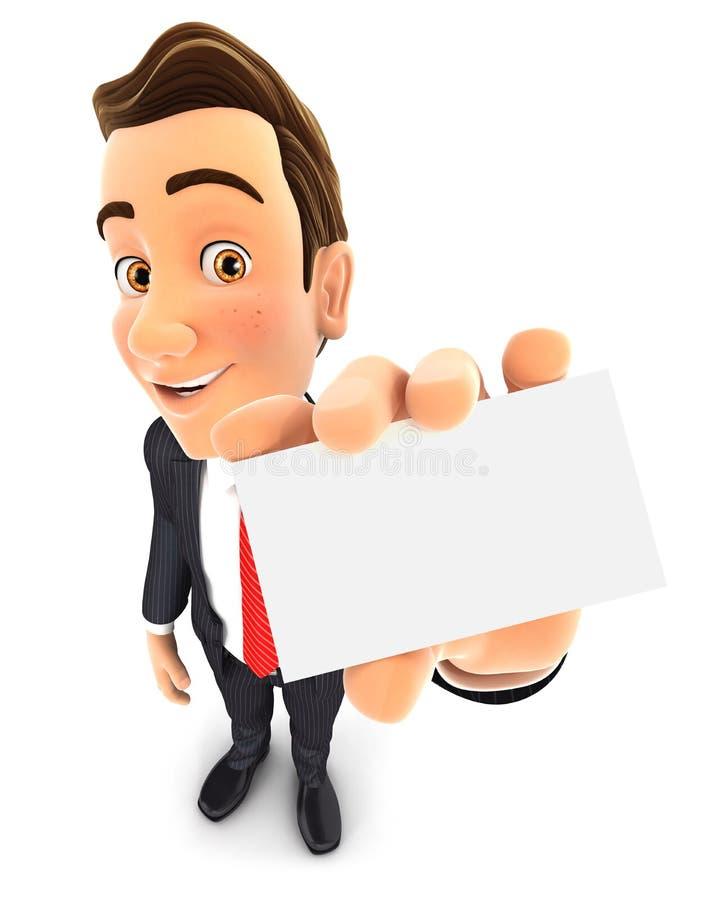 бизнесмен 3d держит визитную карточку иллюстрация вектора