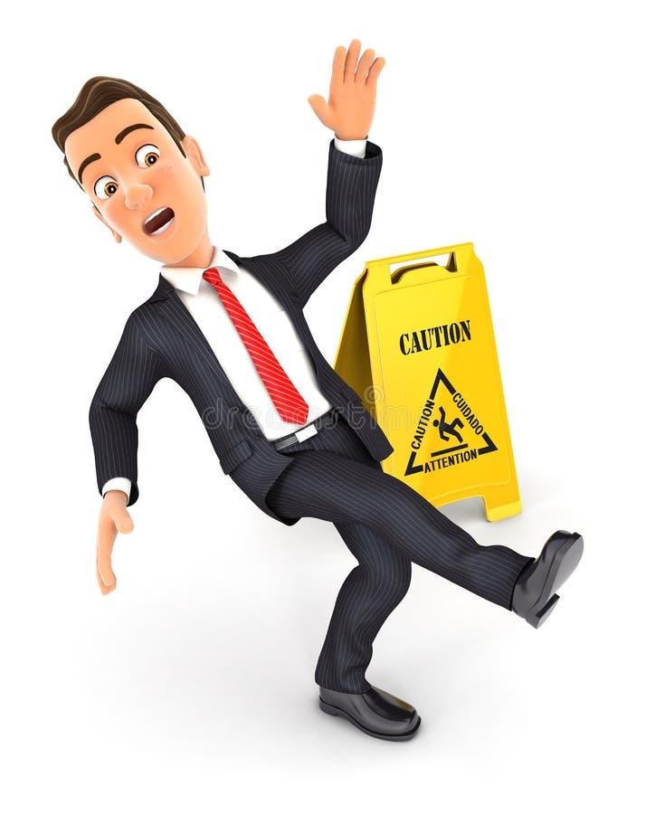 бизнесмен 3d смещая на влажный пол бесплатная иллюстрация