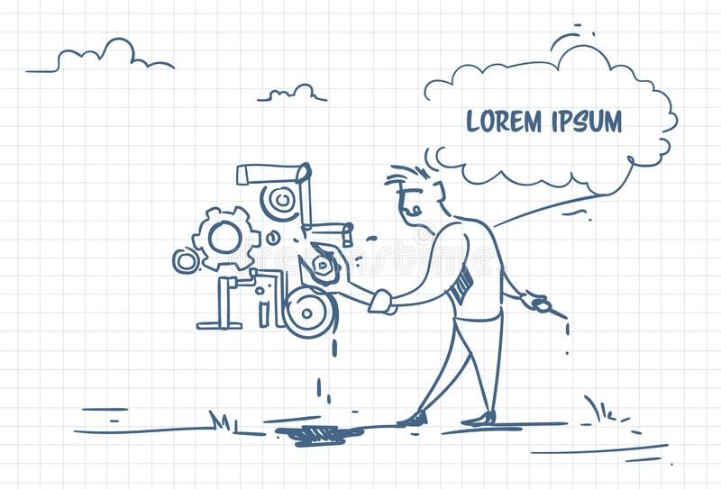 Бизнесмен Doodle с менеджером гаечного ключа регулирует механизм Концепция вспомогательного обслуживания бесплатная иллюстрация