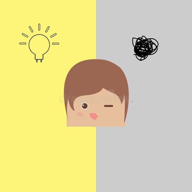 Бизнесмен doodle шаржа не думает и имеет никакая идея иллюстрация вектора