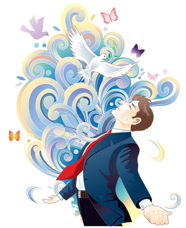 бизнесмен meditating бесплатная иллюстрация