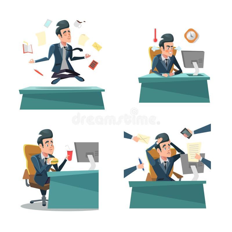 Бизнесмен Multitasking на работе белизна офиса жизни фонового изображения 3d иллюстрация вектора