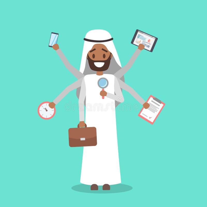 Бизнесмен Multitasking Эффективные и талантливые работник и трудоголик бесплатная иллюстрация