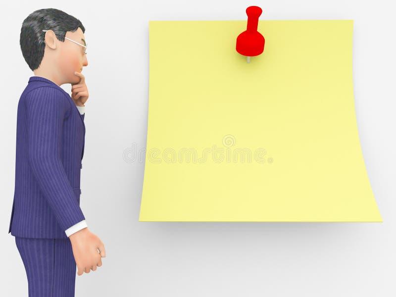 Бизнесмен Thinking Показывать Отражать Корпорация и концепция иллюстрация штока