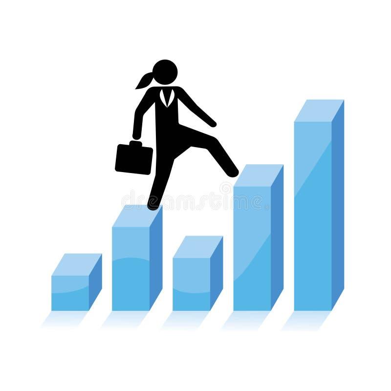 Бизнес-леди взбирается бары диаграммы бесплатная иллюстрация