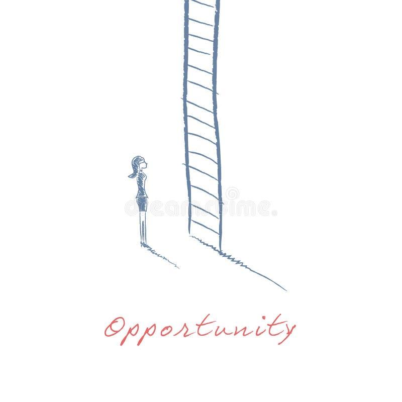 Бизнес-леди взбираясь корпоративная лестница в иллюстрации вектора эскиза карьеры нарисованной рукой Символ продвижения работы ил иллюстрация вектора