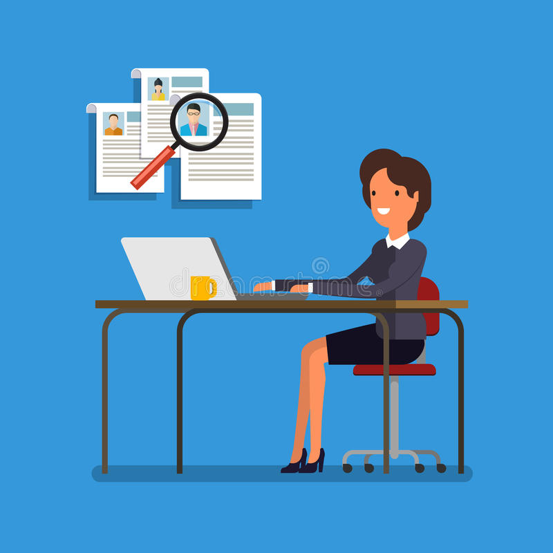 Бизнес-леди выбирая персону для нанимать бесплатная иллюстрация