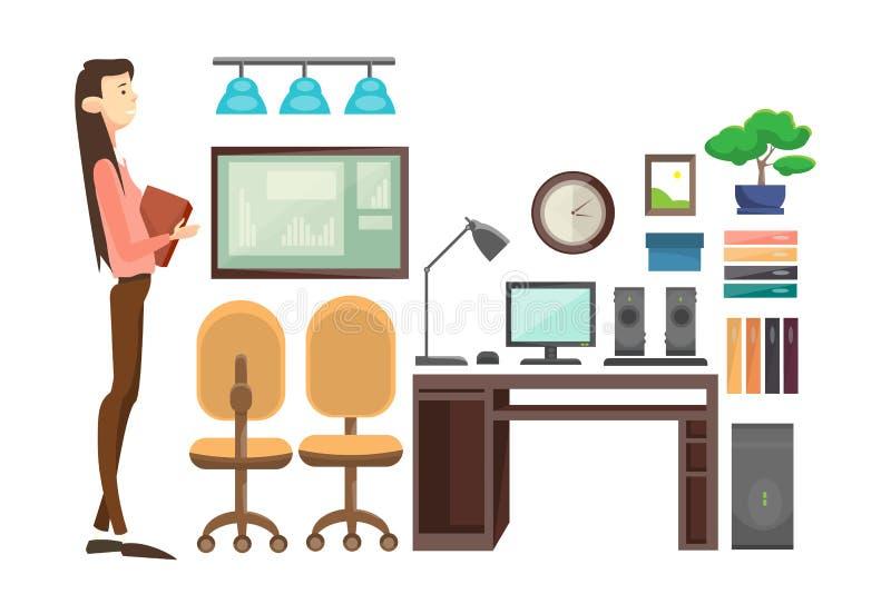 Бизнес-леди в рабочем месте офиса, документах контракта бумаги владением коммерсантки бесплатная иллюстрация