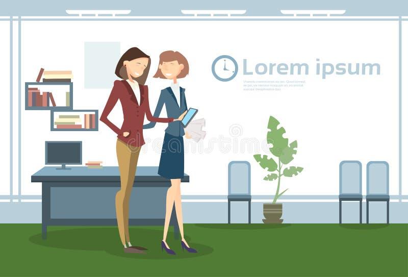 Бизнес-леди в рабочем месте офиса, документах контракта бумаги владением коммерсантки иллюстрация вектора