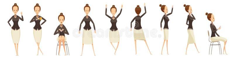 Бизнес-леди в различных установленных представлениях иллюстрация штока