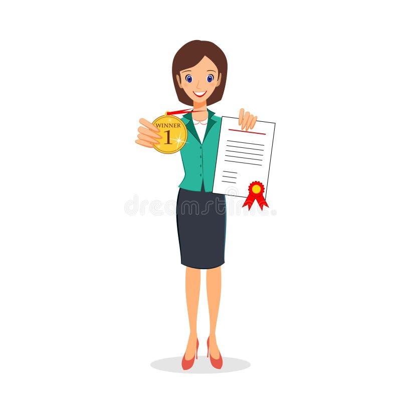 Бизнес-леди держа золотые медаль и сертификат Победитель, suc иллюстрация вектора