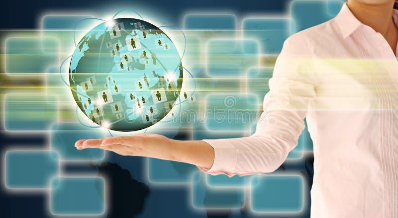 Бизнес-леди держа накаляя глобус земли стоковые фотографии rf