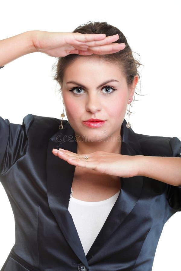 Download Бизнес-леди делая изолированную рамку руки, Стоковое Фото - изображение насчитывающей рука, backhoe: 33734458