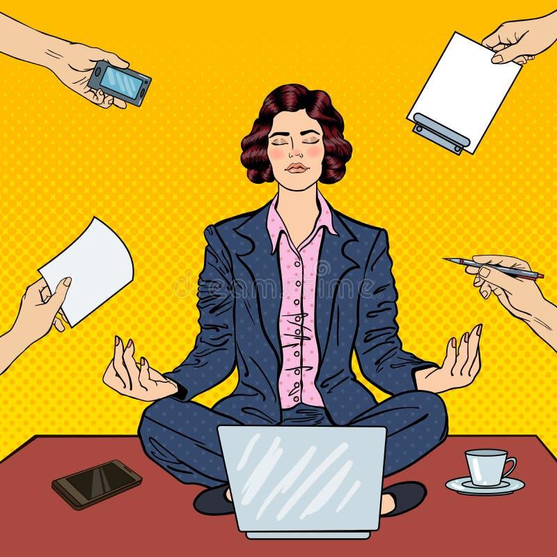 Бизнес-леди искусства шипучки размышляя на таблице бесплатная иллюстрация