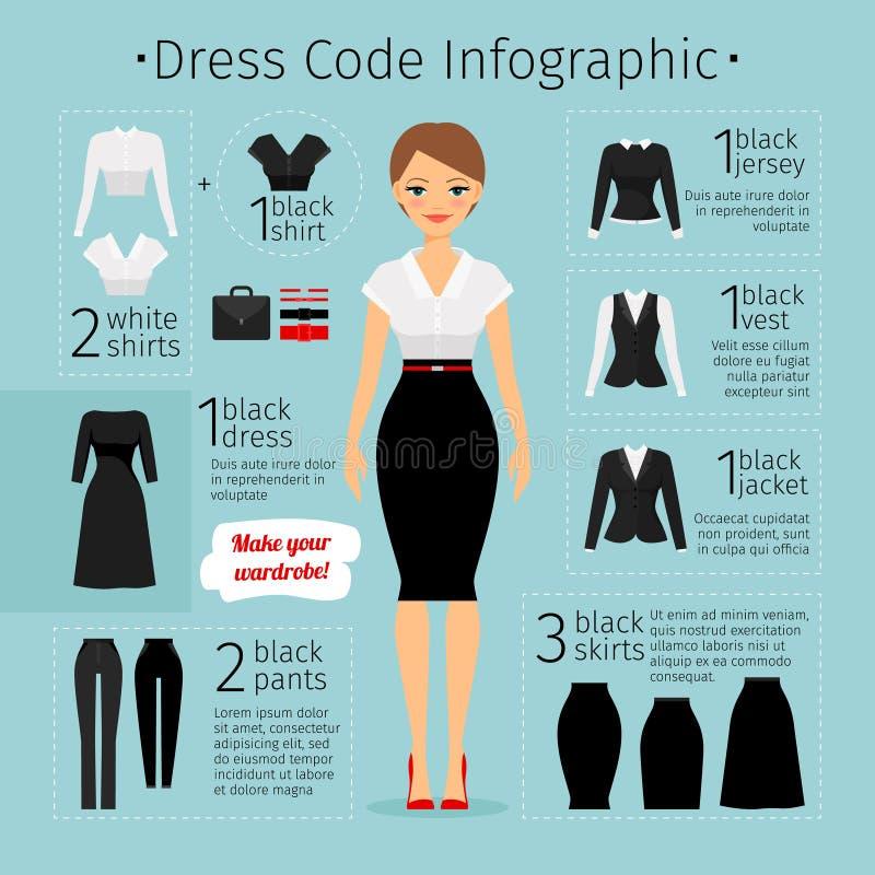 Бизнес-леди одевает infographics бесплатная иллюстрация