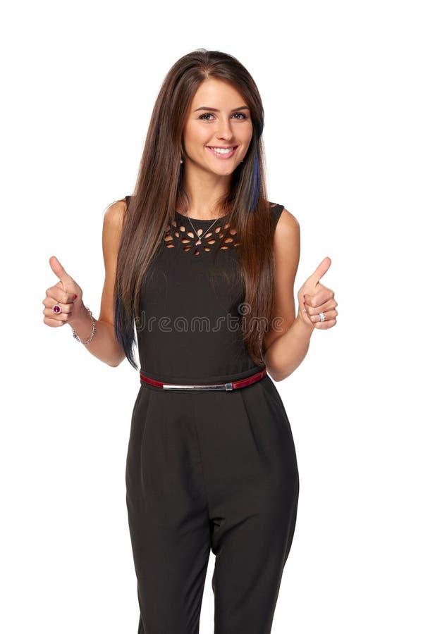 Бизнес-леди показывать одобрительно знаки стоковая фотография rf