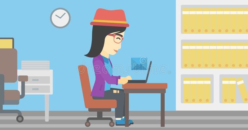 Бизнес-леди получая или посылая электронную почту иллюстрация штока